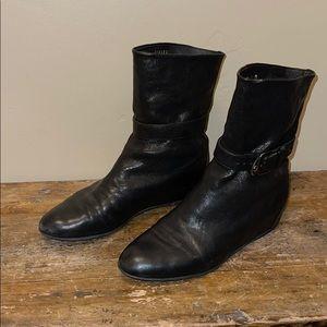 Stuart Weitzman Black Wedge Booties Size 5.5